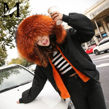 2016 Women Hooded Winter Military Raccoon Fur Hooded Bomber Jacket With Fur Lining
