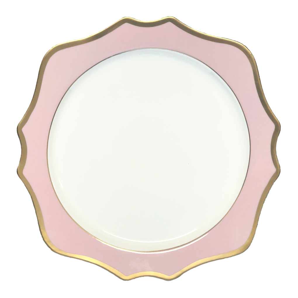"Pink elegant decorative <strong>13</strong>"" rose gold rim wedding charger plates wholesale porcelain"