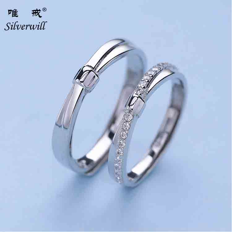 925 sterling silver bow knot shape eternity couple rings for engagement