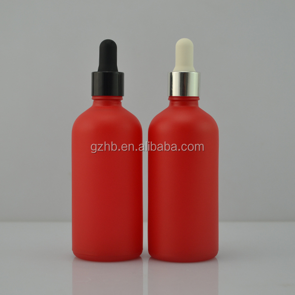 Christmas stock new product black aluminum cap 100ml matte red colored glass bottle manufactures -- delivery 3-5 days