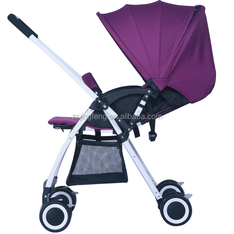 Pink Color Light Baby Pram With Reversible Handle