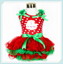New arrive santa christmas petti tutu dress Cake Styles Wholesale Lace Petti Dresses With Big Bowknot