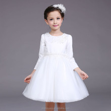 Baby girl winter party dress children frocks designs Long sleeves Communion dress for 3-9 years old White flower wedding dress