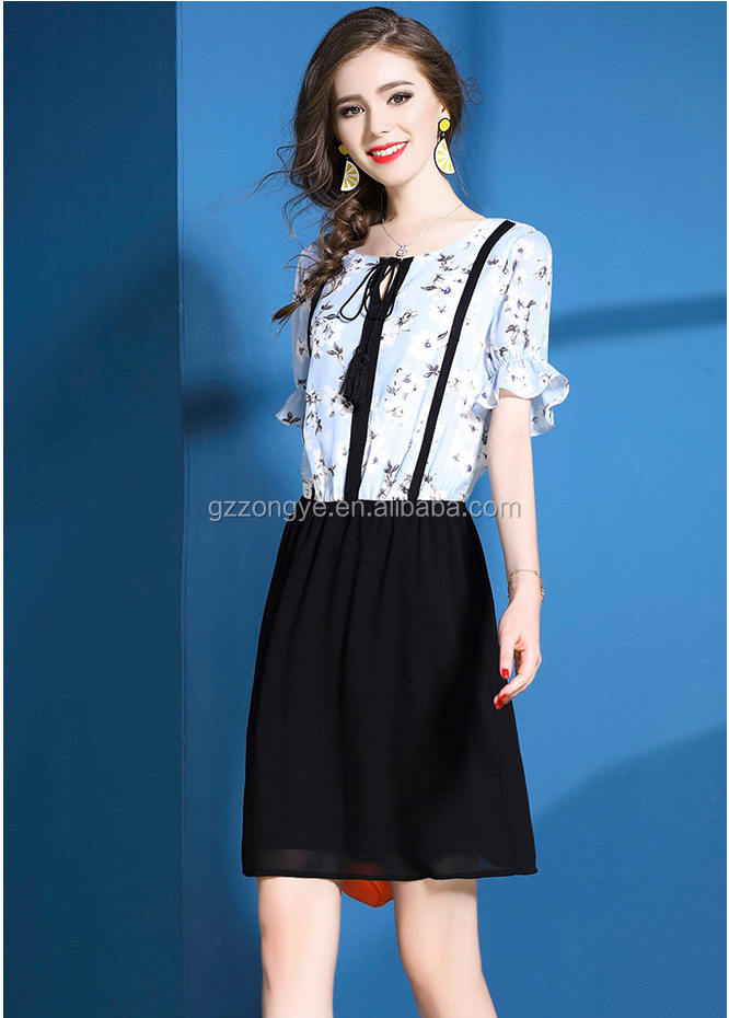 Latest ladies short sleeve long dress chiffon new style printed chiffon floral and black dress stitching dress