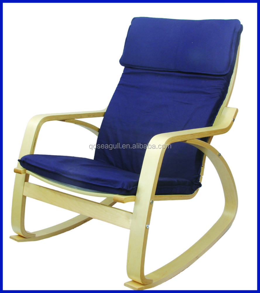 Birch bentwood frame rocker leisure chair with removed cushion