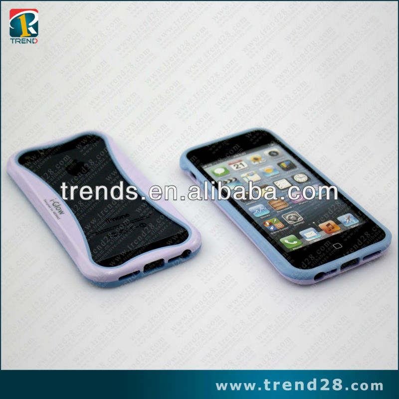 2013 nova chegada luminosa e curve tpu & pc bumper case para iphone5