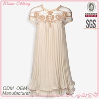 Modern high quality fashion new design ladies' loose-fitting pleated elegant light pink evening dresses with laced neck