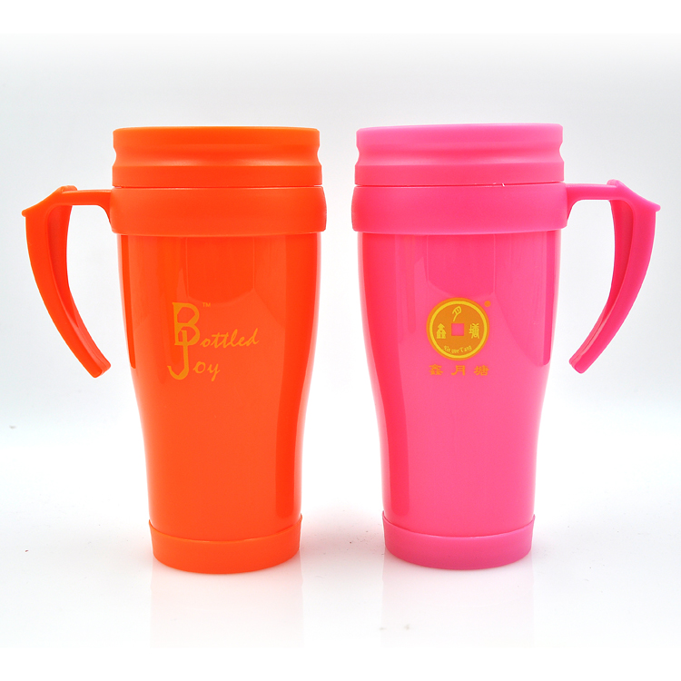Free Sample PP Material Promotional Plastic Drinking Cup With Handle(Optional Color),400ml,Logo Custom