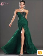 Guangdong Women Sexy Mermaid Slit Sexu Back Open Evening Dress Green Party Club Dress