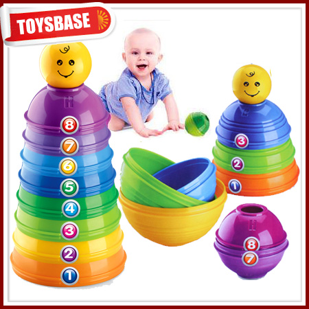 USA German Spanish Japanese Infant Pretty 1 Year Old Girl and Boy Stack Up Educational Baby Toy