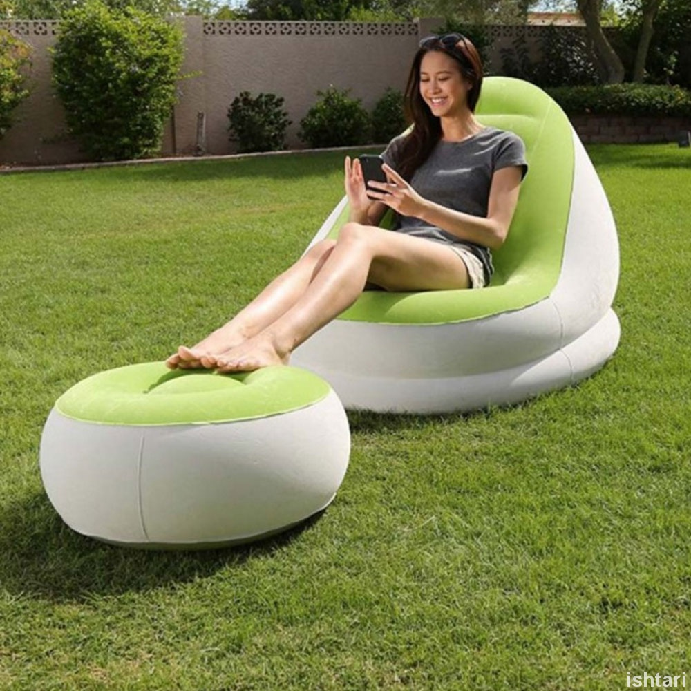Bestway 75053 Comfort Inflatable Relaxing Single Air sofa Chair + Foot Rest Lounge Seat Sofa