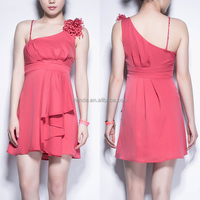 One-shoulder Bandage Dress Sexy Pressure Pleated Mini Formal Dress / Dress Clothes Manufacturer