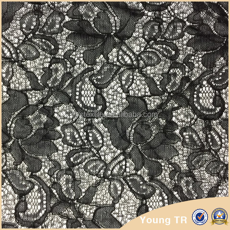 First-rate black cord lace fabric,Poland lace for dresses