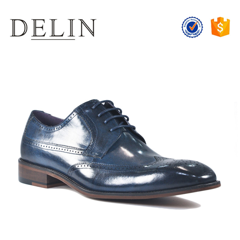 Latest fashion modern style business casual genuine leather dress shoes for men