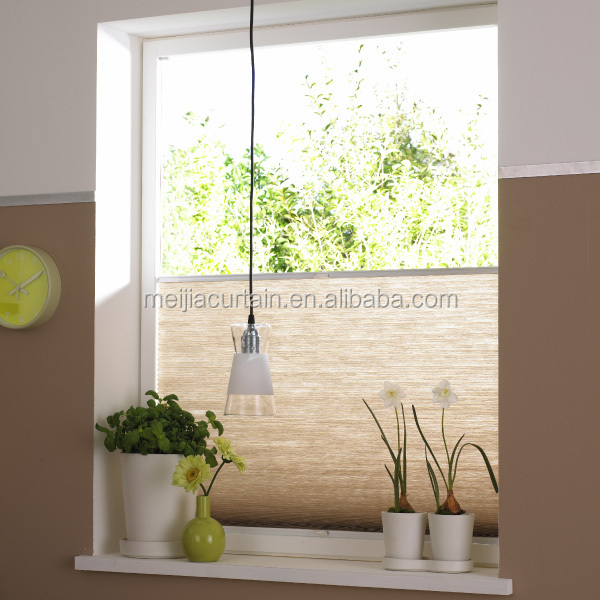 Retractable cordless pleated blind Meijia printed window plisse paper shade