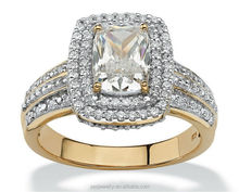 High quality emerald cut cubic zircon indian women halo ring (PES5-158)
