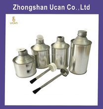 100ml-1000ml sealing type glue metal tinplate can empty glue cans with metal neck+plastic cap+plastic brush