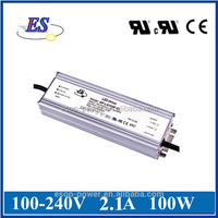 100W 2100mA 48V Constant Current / Voltage LED Driver Power Supply with UL CUL CE IP67
