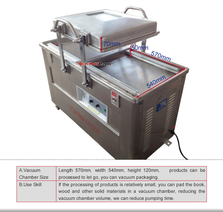 DZ500/2SBII Double Chamber Meat And Chicken Vacuum Packing Machine