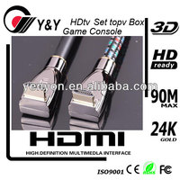 Hot sell popular HDMI cable 1080P HD support 3D and ethernet right triangle connector