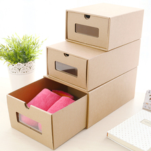 wholesale new design kraft paper drop front shoe storage box