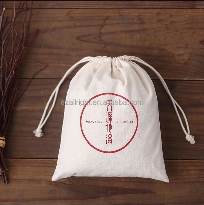 promotional 12oz High quality Natural Color Large Cotton or Canvas Drawstring Hotel Laundry Bag