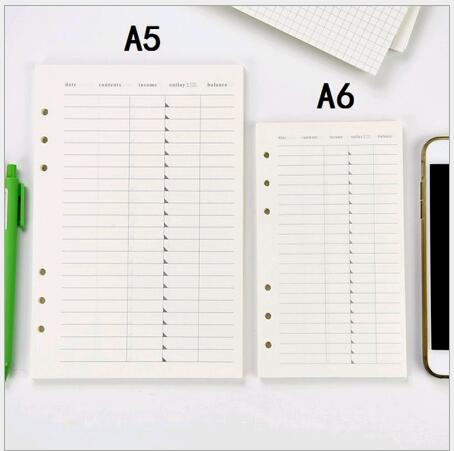 Stock A5 6 Holes Coil Notebook Substitute Blank Drawing Financial Net-lines Diary Dot Notebook 9 Styles Options