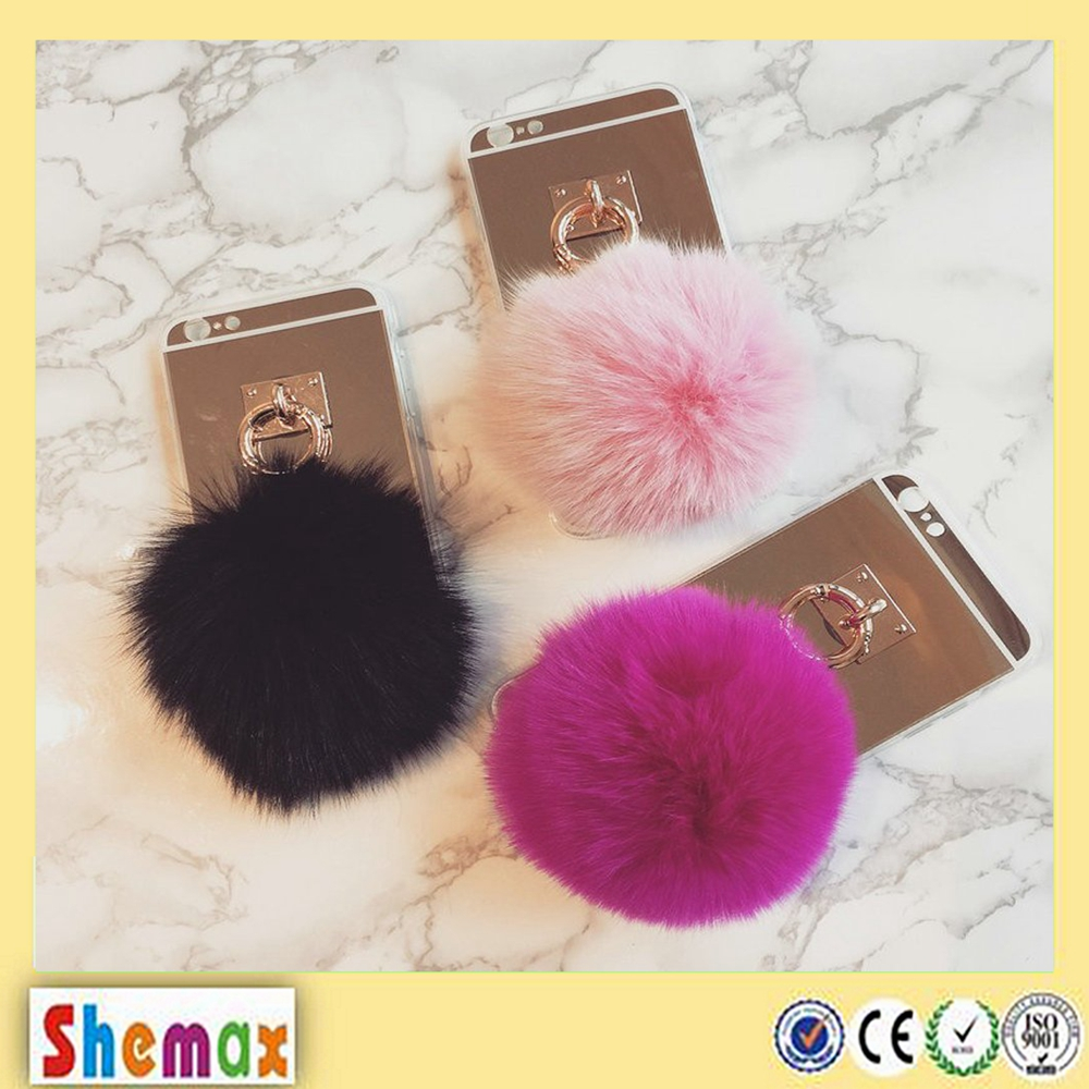 Fluffy Fur Ball Furry Reflective Mirror TPU Phone Cover for iPhone 6