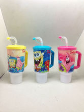 kids plastic mugs cartoon with straw mug with handling