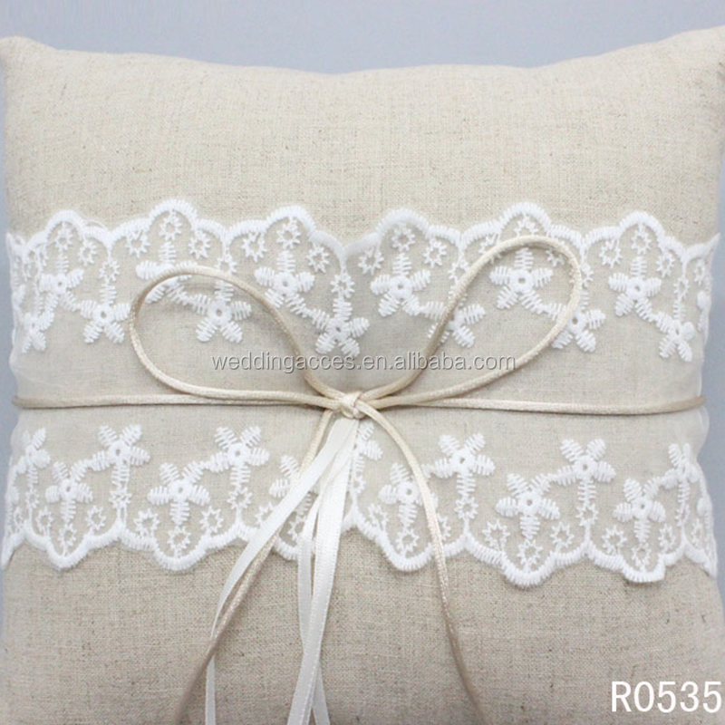 R0535Western Style Ceremony Wedding Supplies Decoration Linen Cloth Ring Pillow