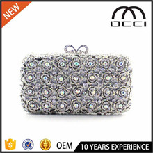 Occi manufacturer wholesale elegant floral Hard shell ladies crystal clutch evening bag SC2260