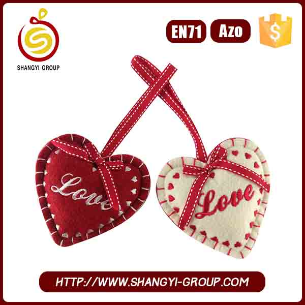 Holiday Decor red and beige heart shape christmas tree ornaments