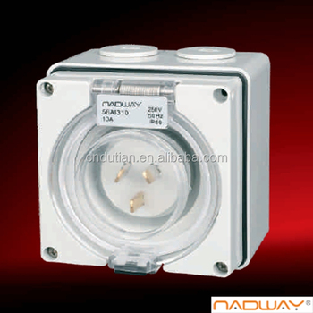 Australian industrial appliance inlet IP66 3 pin 10A inlet