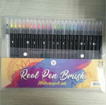 pack 24 color best brush tip art markers set for kids drawing
