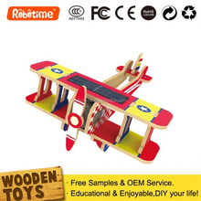 3D Wooden Puzzle Remote Control Airplane Model DIY Solar Toy