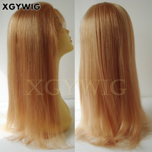 Wholesale 100% virgin human hair Fshion Straight Caucasian Mix blonde 27/613 lace wig