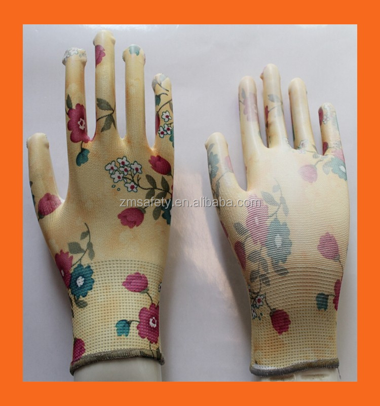 Ladies Garden Work Spring Gardening Gloves,Clear Nitrile Palm Coating Landscape Gloves