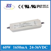 60W 36V 1650mA AC-DC Constant Current /Voltage Dimmable LED Driver with 3 in 1 dimmer