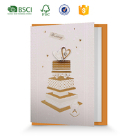 Traditional 3D vintage Cake heart shape musical wedding invitations card design