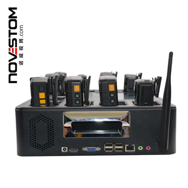 novestom data docking station with Screen 4G Police Body Worn Body Cameras with software programs