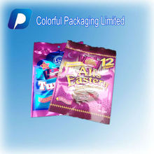 New products Shining aluminum foil candy/cookie bags/3 side seal candy bag for packaging snack with hang hole&colorfull printing