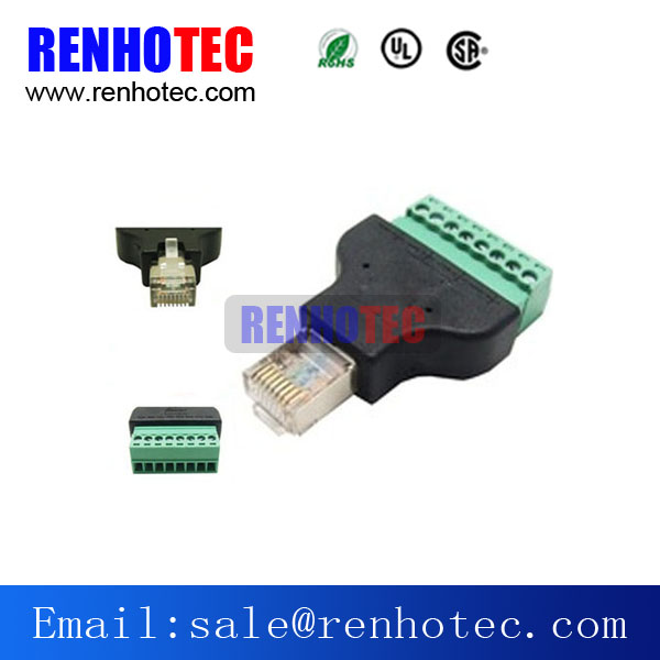 RJ45 Male Network Connector to Terminal block Converter Adapter