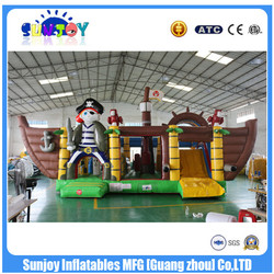 Pirate Ship Giant Inflatable Castle Slide / Hot Cheap Kids Obstacle Course