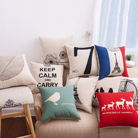 Creative Pattern Linen Cotton Throw Pillow Case Sofa Car Bed Home Decor Cushion Cover