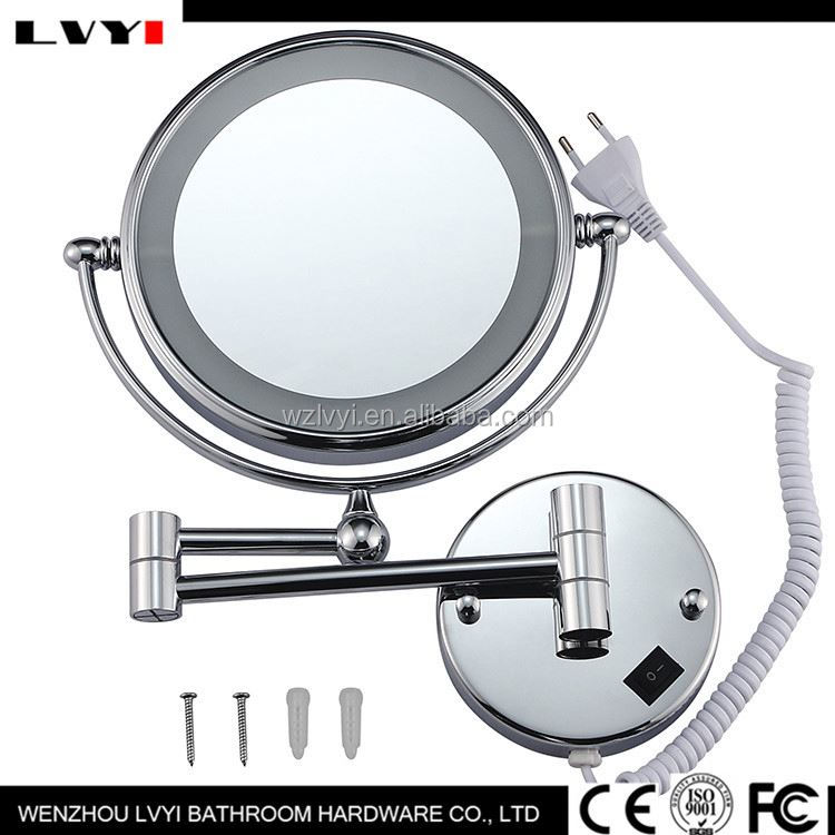 Hot promotion special design wall mirror glass with LED light 2016
