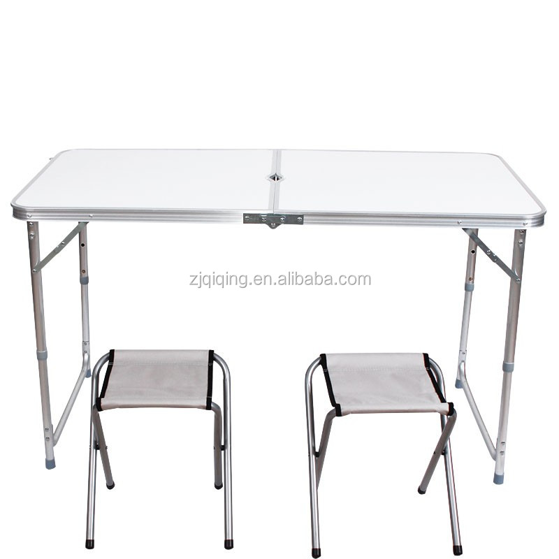 2016 new light weight outdoor portable aluminum folding table with stools JF-14-20