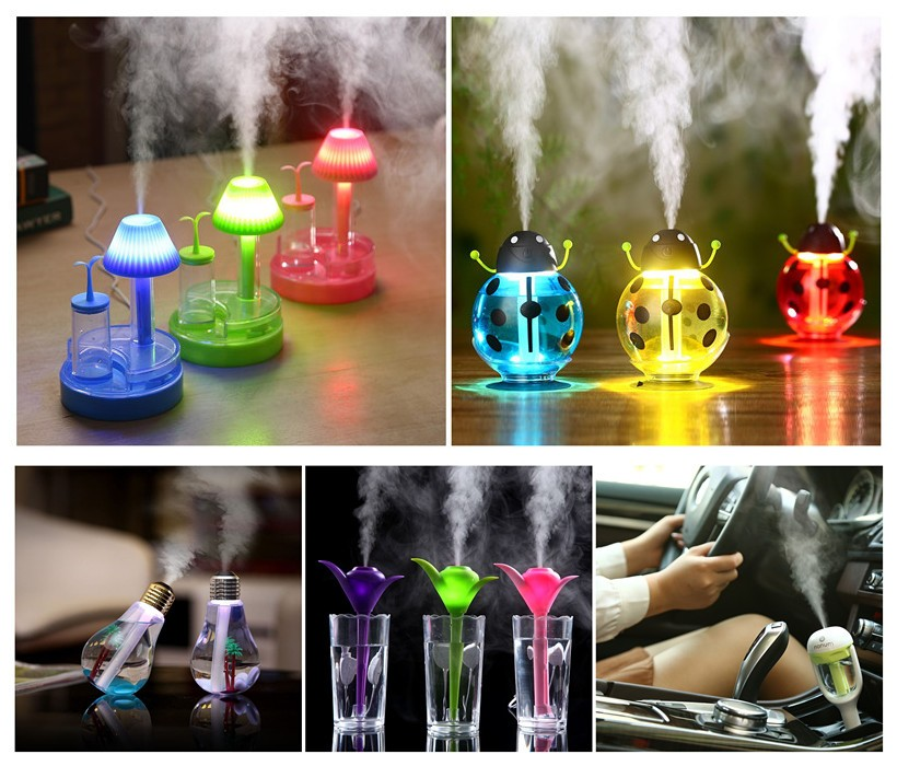 2017 hot new product 300ML wood spray mist electric aroma essential oil diffuser ultrasonic humidifier with 7 colors LED light