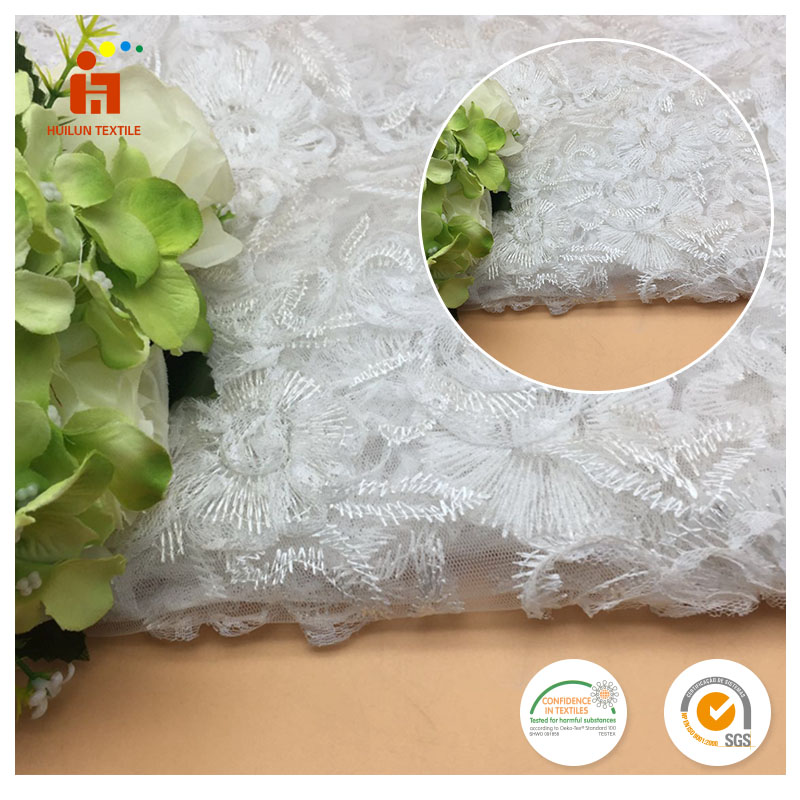 Summer white Color Tassel Tape With white polyester thread lace tulle embroidery fabric for Garment Decoration