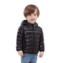 2017 black color unisex kids white duck down jacket Super light Winter hooded Jacket for Children