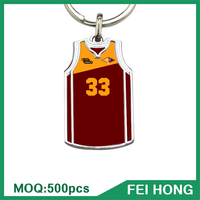 Wholesale bulk metal two sided blank basketball jersey t shirt keychain